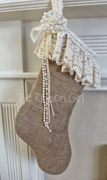 vintage burlap stocking - Burlap Christmas