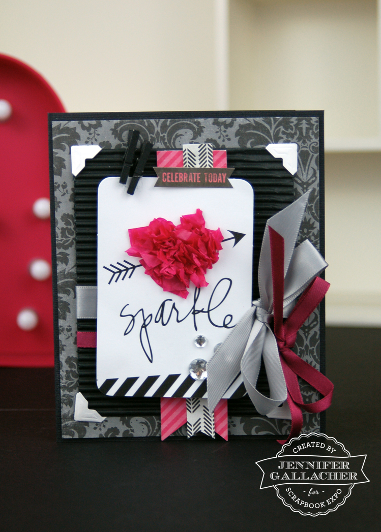 Tissue Paper Heart Card by Jen Gallacher for the Weekly Scrapper Blog