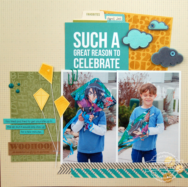 Reason to Celebrate Layout by Jen Gallacher for the Weekly Scrapper blog hosted by the Scrapbook Expo