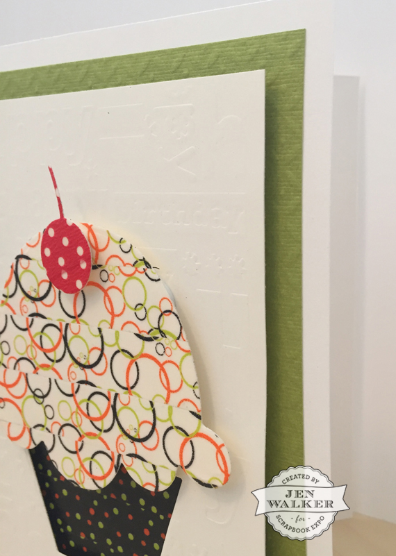 Cupcake card layers by Jen Walker for Scrapbook Expo