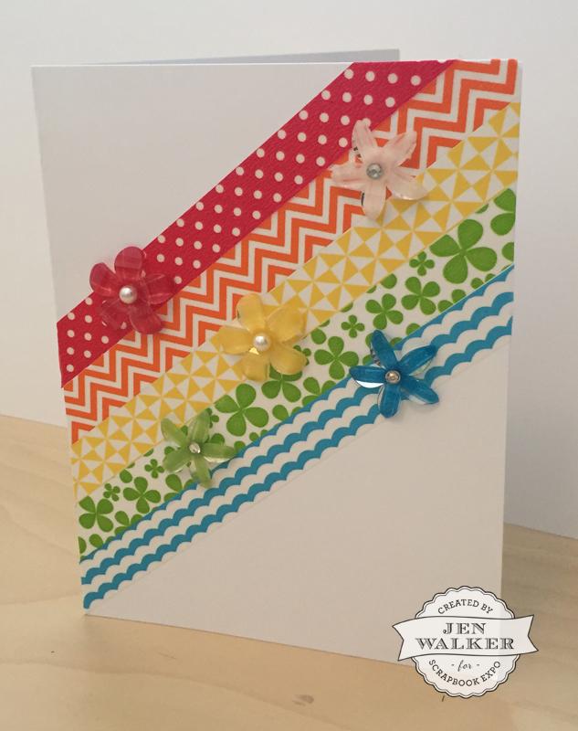 Rainbow Washi Tape card by Jen Walker