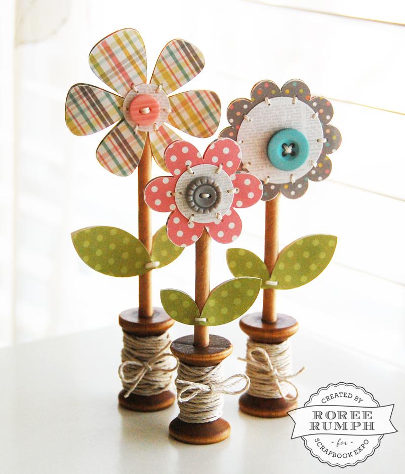 roree rumph_wooden spool_flowers 2