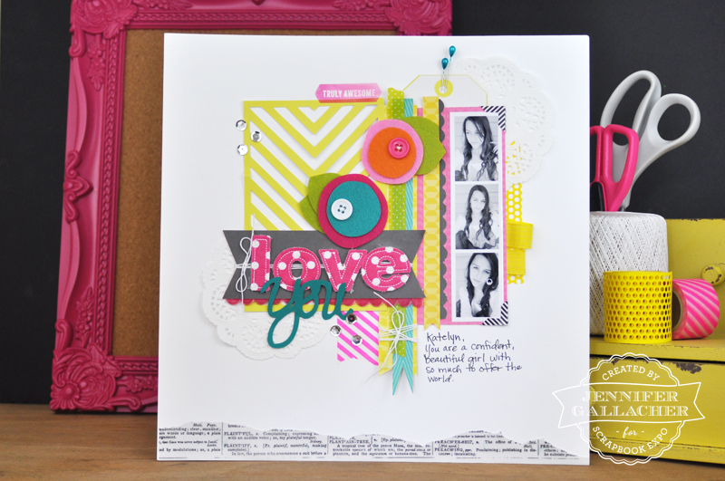 Love You Layout by Jen Gallacher for the Weekly Scrapper blog hosted by the Scrapbook Expo