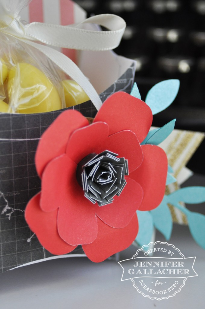 Close Up Photo of the Flower Treat Box Jen Gallacher created for the Weekly Scrapper blog hosted by the Scrapbook Expo