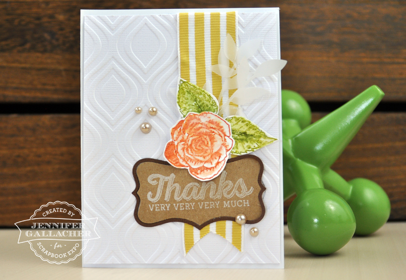"Thanks Card by Jen Gallacher for the Scrapbook Expo blog ""The Weekly Scrapper"""