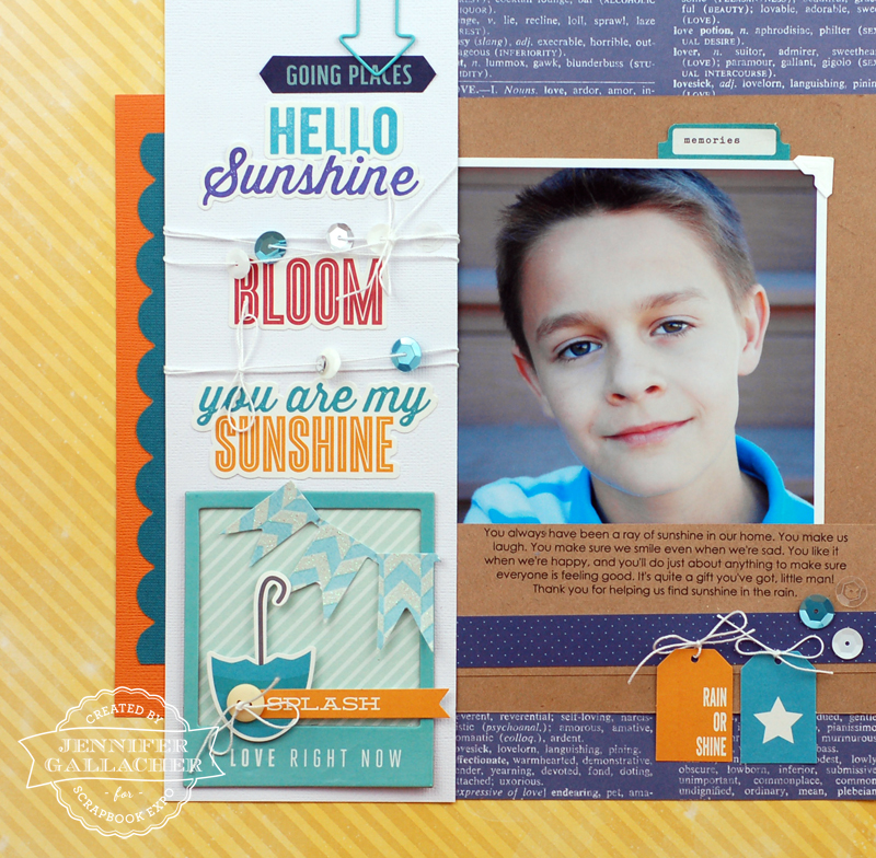 "Hello Sunshine Layout and Tutorial by Jen Gallacher for the Scrapbook Expo ""Weekly Scrapper"" blog"