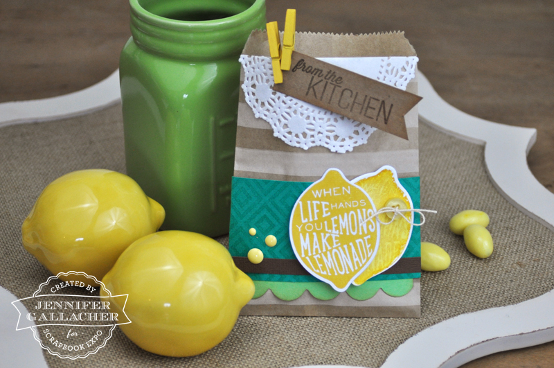 Stamped Lemon Treat Bag by Jen Gallacher for the Weekly Scrapper blog hosted by the Scrapbook Expo