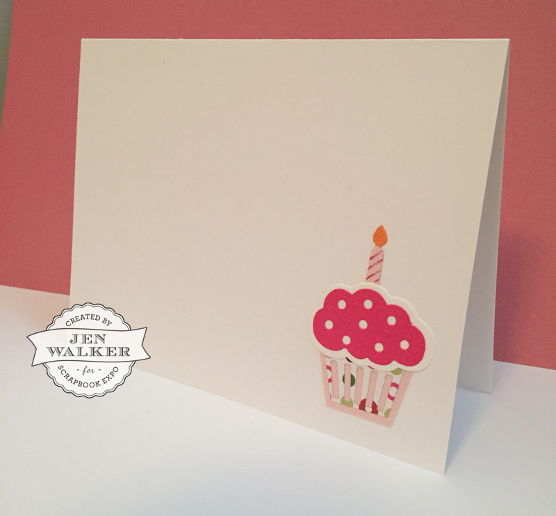 Sizzix Cupcake Birthday card by Jen Walker for Scrapbook Expo