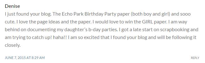 Echo Park Paper Winner Denise