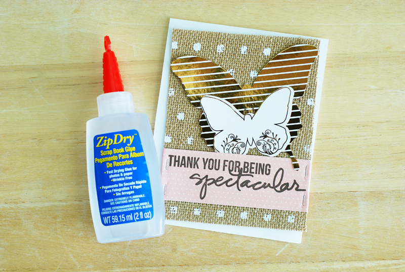 Thank you card created by @jbckadams (Becki Adams) using the Minc machine for Scrapbook Expo