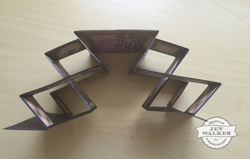 Graphic 45 Double Tri Fold Shutter card by Jen Walker