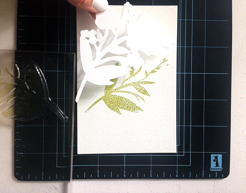 stamp onto watercolor paper