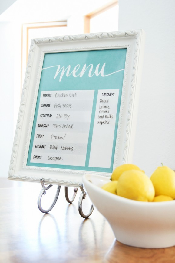 Printable Dry Erase Menu