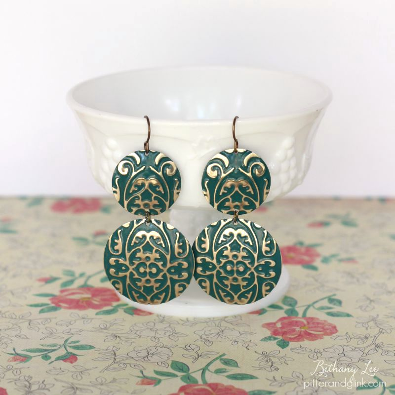 DIY Embossed Emerald Earrings
