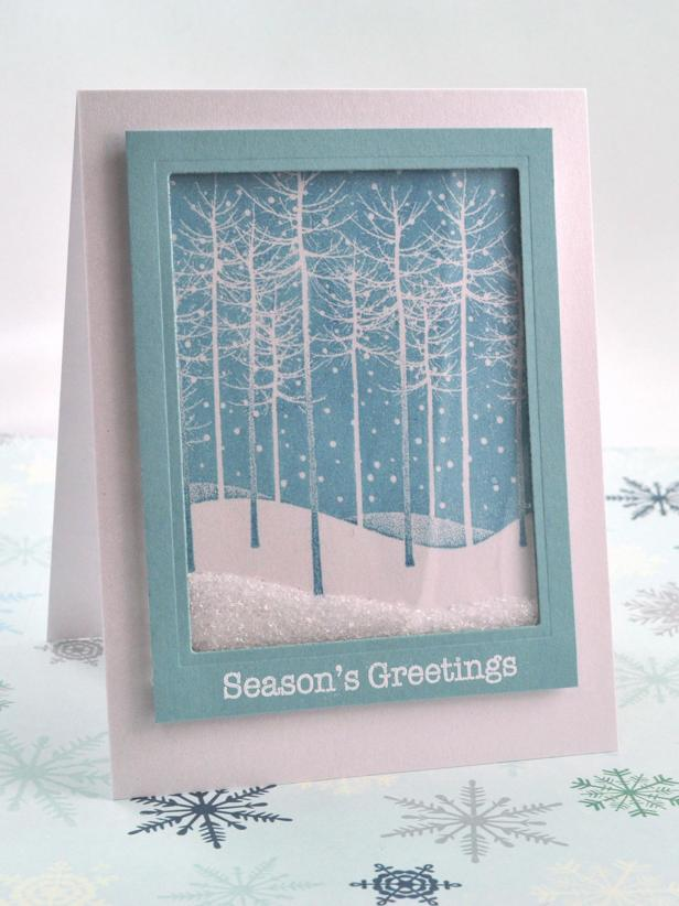 Falling Snow Holiday Shaker Card designed by Debbie Olson