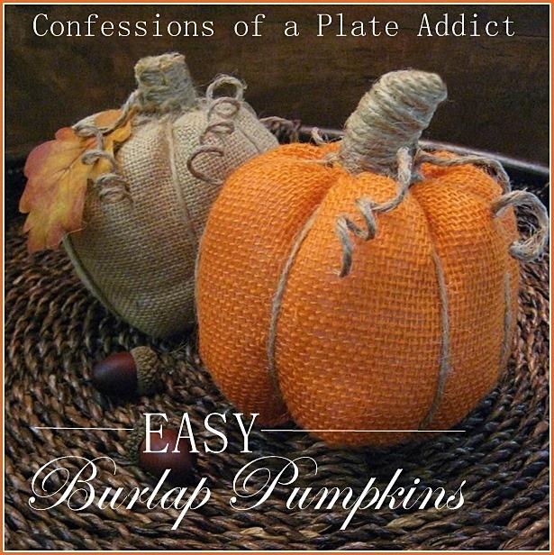 Easy Burlap Pumpkins