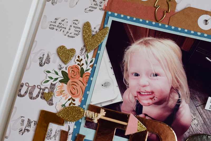 How to create a layout with a large title by @jbckadams (Becki Adams) for @scrapbookExpo