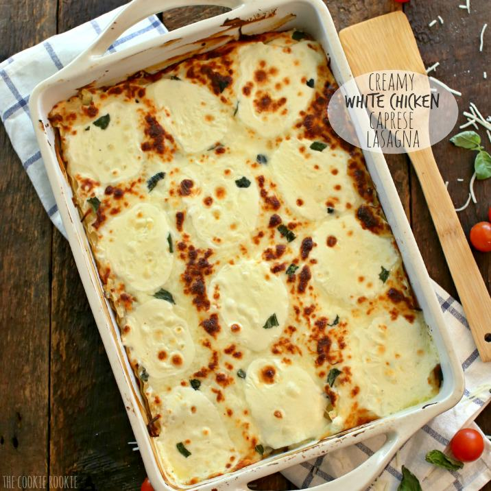 White Chicken Caprese Lasagna