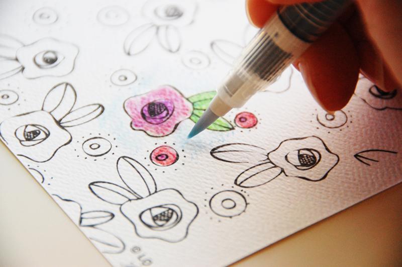 Watercolor Coloring Book Card - Stamp & Scrapbook EXPO
