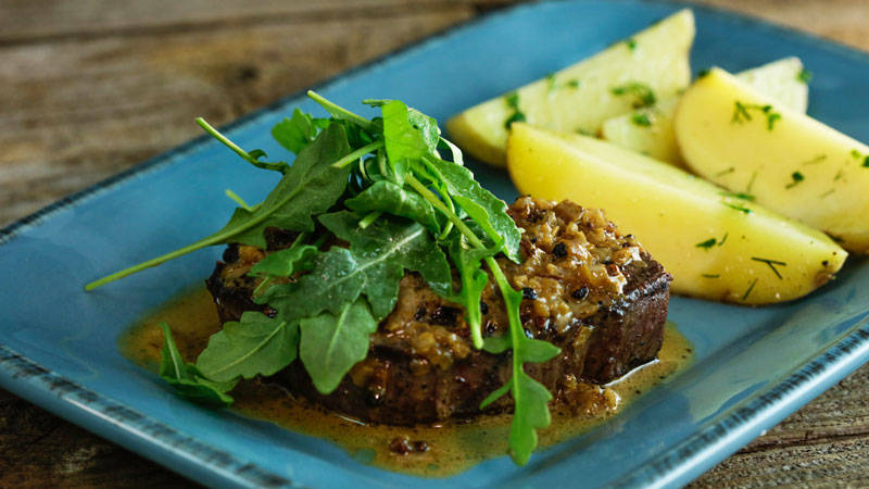Three-Peppercorn Steaks with Herb Potatoes by Rachael Ray