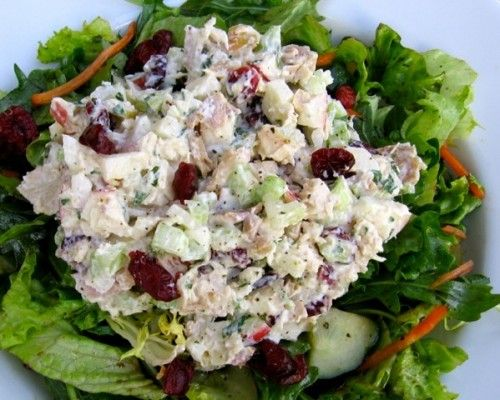 Healthy Chicken Salad with Apples & Cranberries