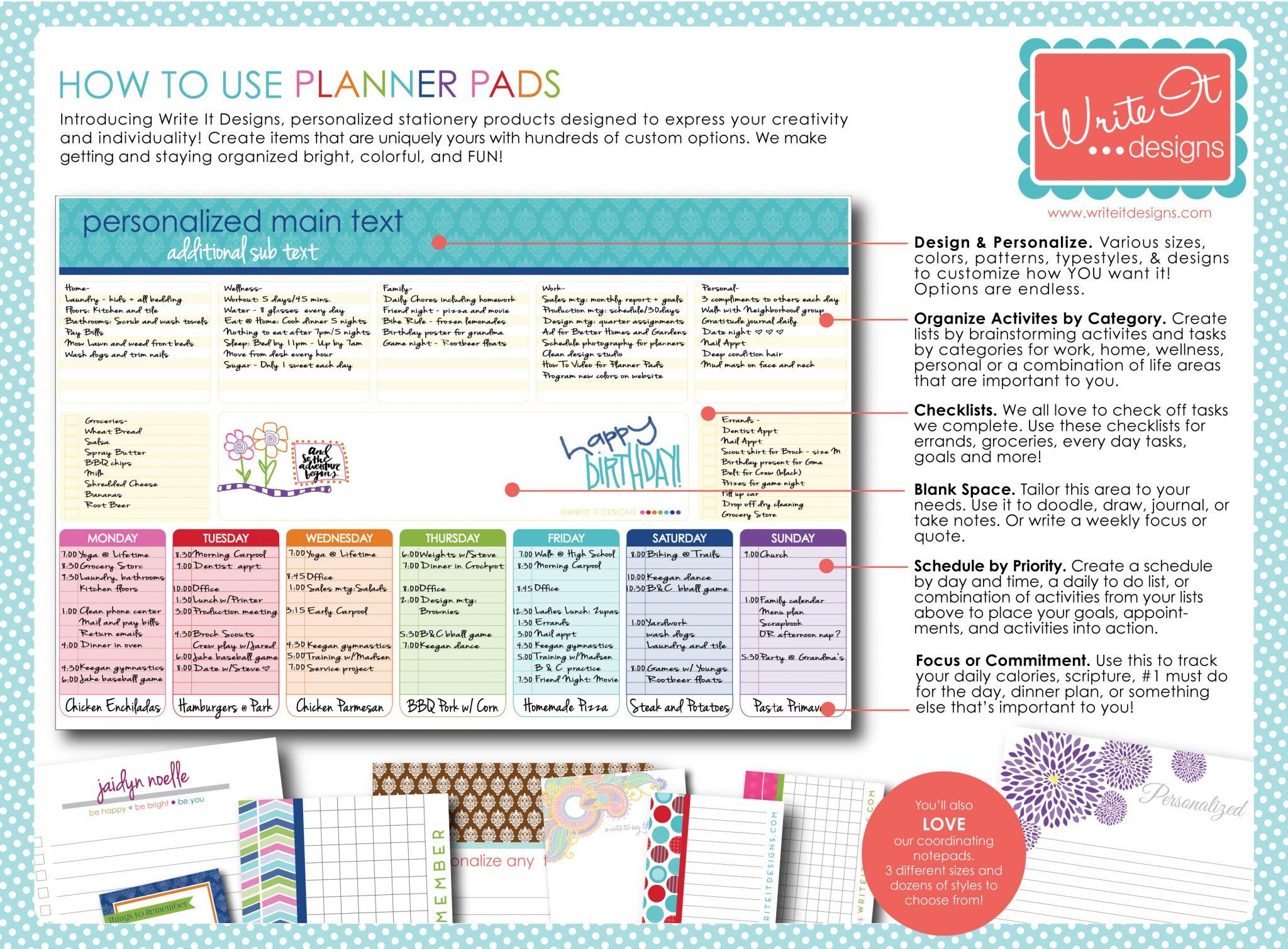 Write It Designs Planner Notepad