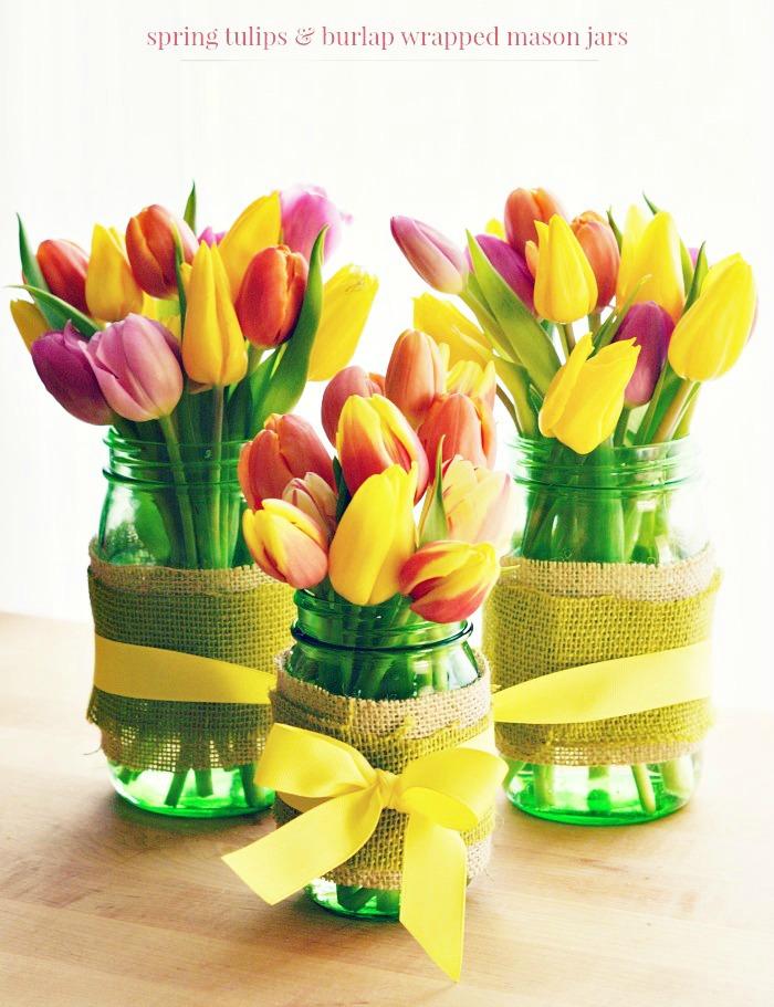 Burlap Wrapped Ball Green Mason Jars Tulip Vases
