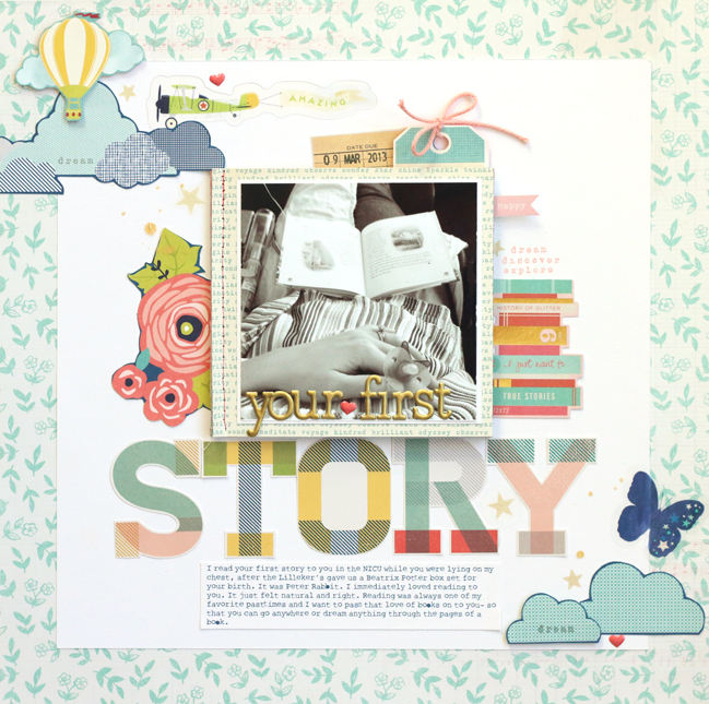 baby's first story layout by Meghann Andrew