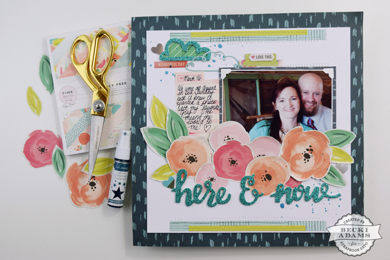 Fussy cutting with the Fancy Free collection by @jbckadams for @scrapbookexpo using products from @paigetaylorevans
