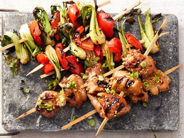 Hoisin Chicken and Bok Choy Kebabs
