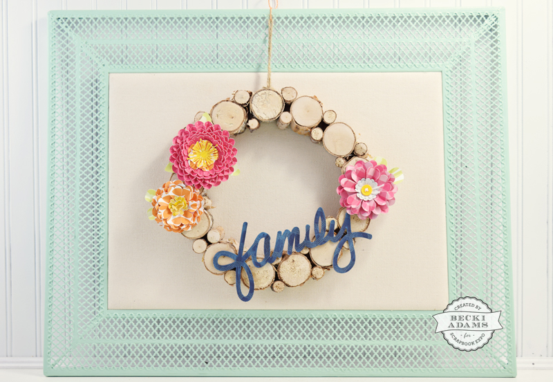 Family Wreath created by @jbckadams for @scrapbookexpo #jillibeansoup #pebblesinc #paperflowers