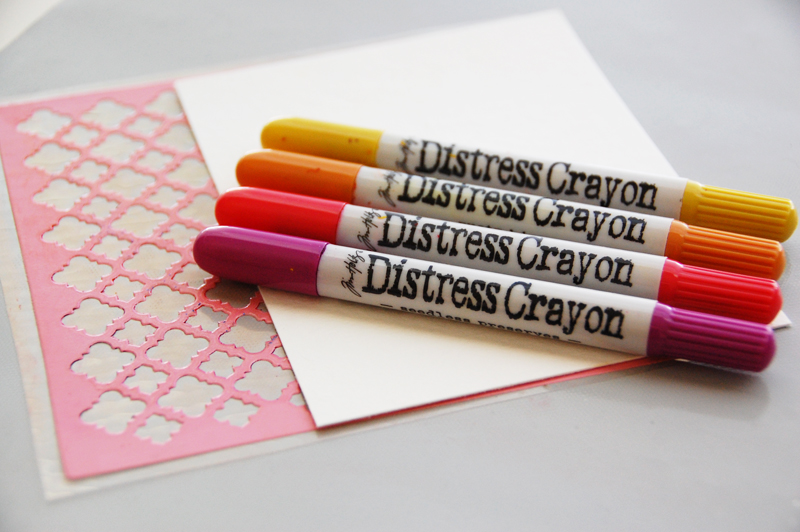 roree rumph_tim holtz distress crayons_stencil_background_card_step1