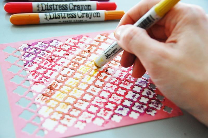 roree rumph_tim holtz distress crayons_stencil_background_card_step3