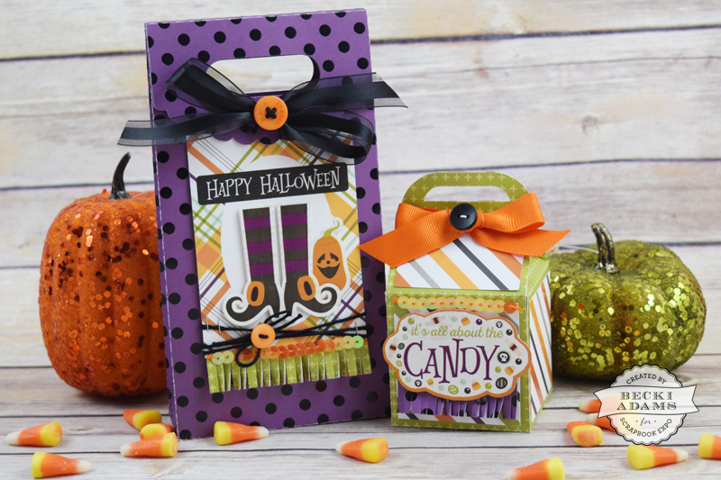 Halloween treat bags by @jbckadams for @scrapbookexpo using the Halloween collection by @echoparkpaper #halloweencraft #halloweentreatbag #papercrafting
