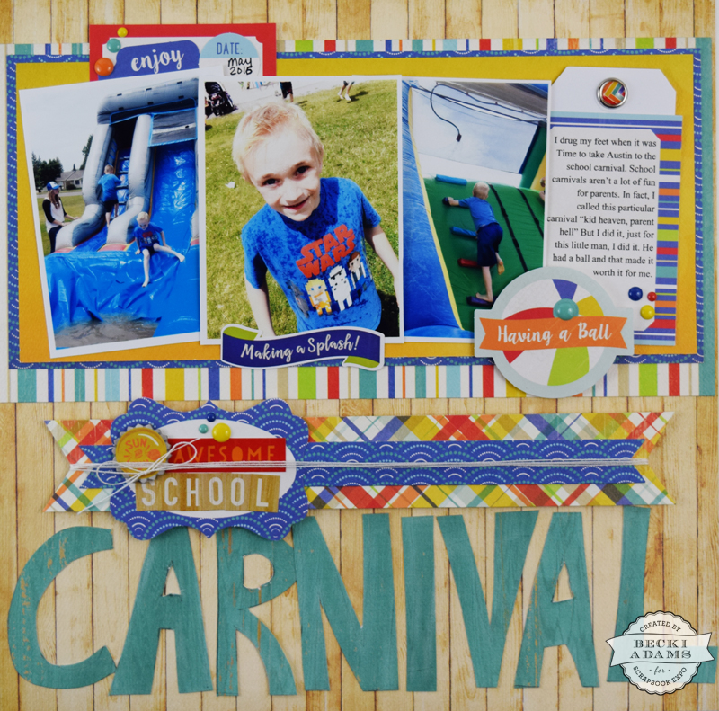 School Carnival layout and video tutorial by @jbckadams for @scrapbookexpo #scrapbooking #scrapbookingprocessvideo #cartabellapaper