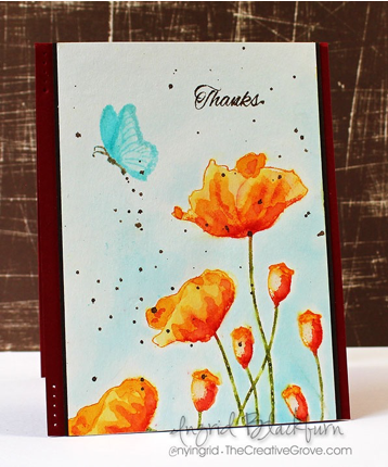 Watercolor Stamped & Painted Poppies with Ingrid Blackburn