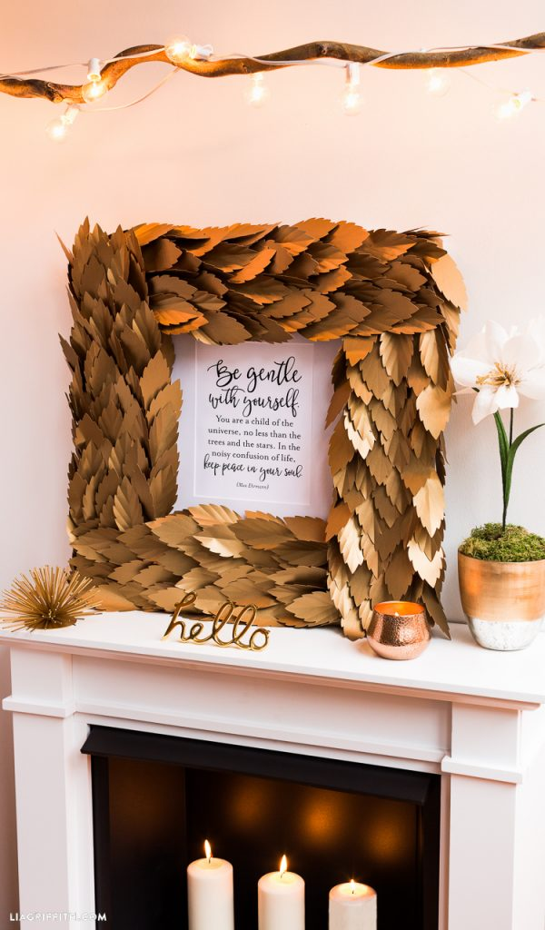 Gold Leaf Square Wreath