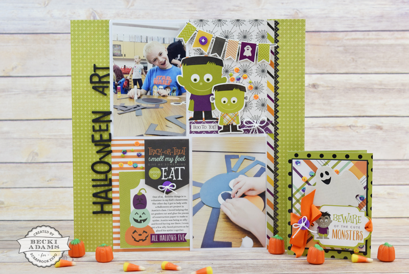 Create a Halloween Layout and Card with @jbckadams for @scrapbookexpo using the Halloween collection from @echoparkpaper #scrapbooking #halloweencrafting #Cardmaking #echoparkpaper