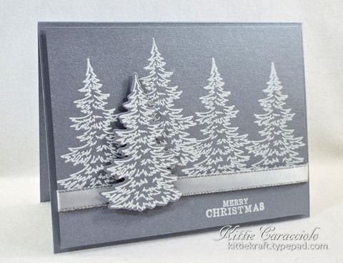 Brushed Silver Snowy Trees
