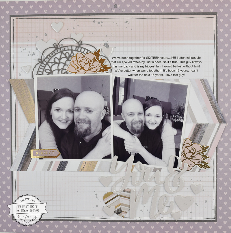 Anniversary layout by @jbckadams for @scrapbookexpo using products from @pinkpaislee and Paige Evans #scrapbooking #scrapbook #memorykeeping