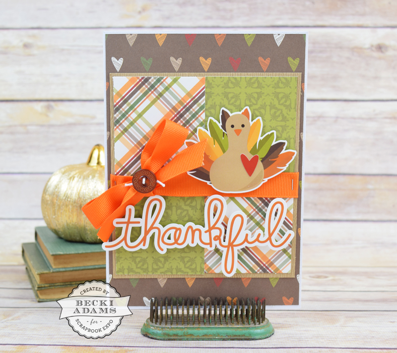 Handmade Thanksgiving Card created by @jbckadams Becki Adams for @scrapbookexpo #cardmaking #Thanksgivingcard #SimpleStories #stampandscrapbookexpo