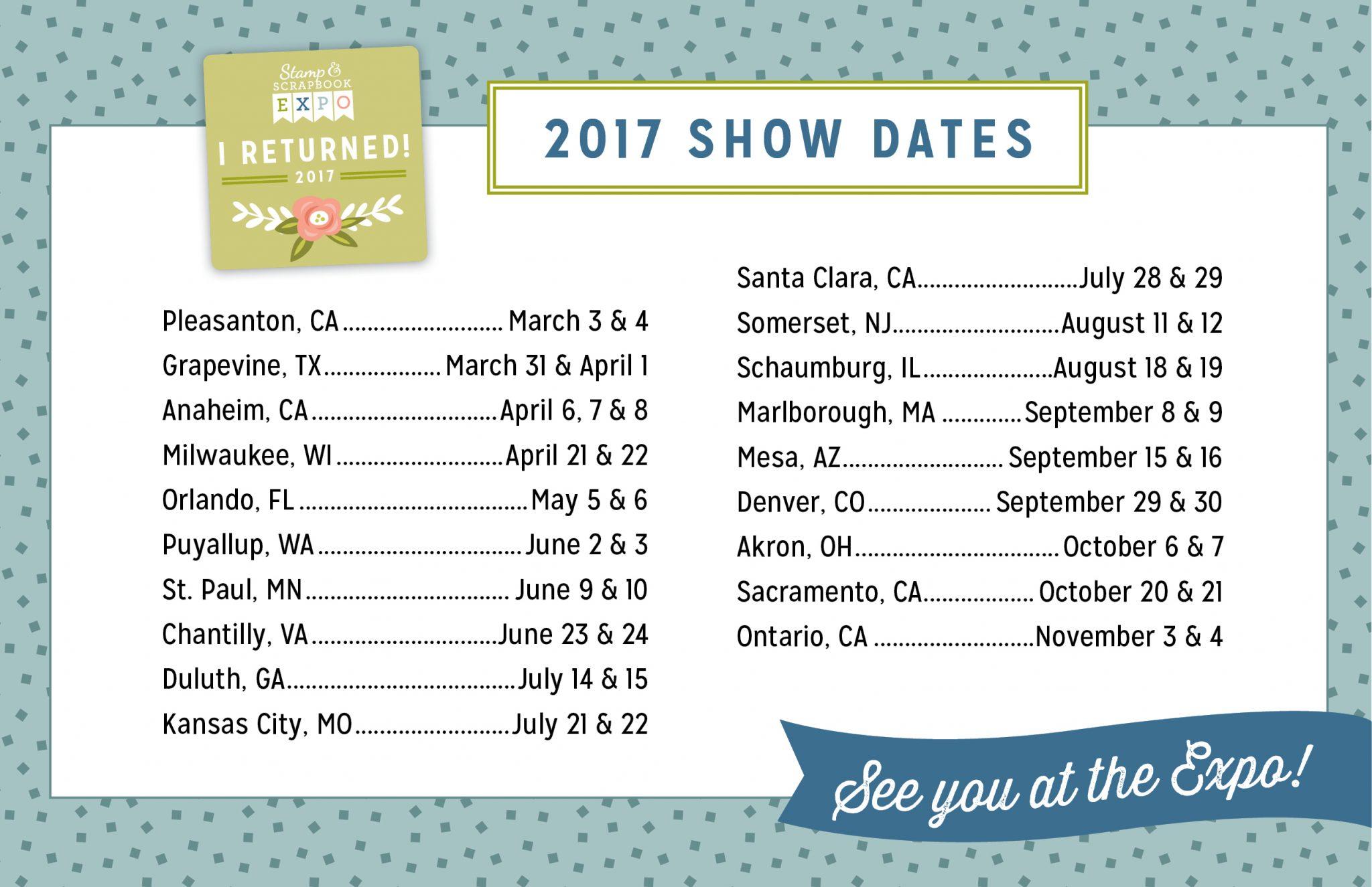 2017 Show Dates