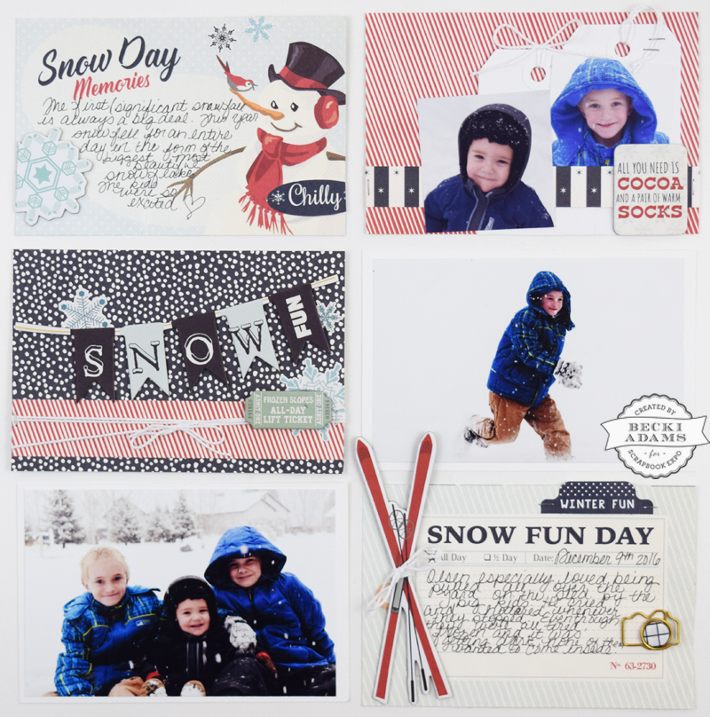Snow Day Pocket Page scrapbook by @jbckadams for @scrapbookexpo using products from @echoparkpaper #pocketpagescrapbooking #scrapbooking #CartaBellapaper #scrapbookexpo