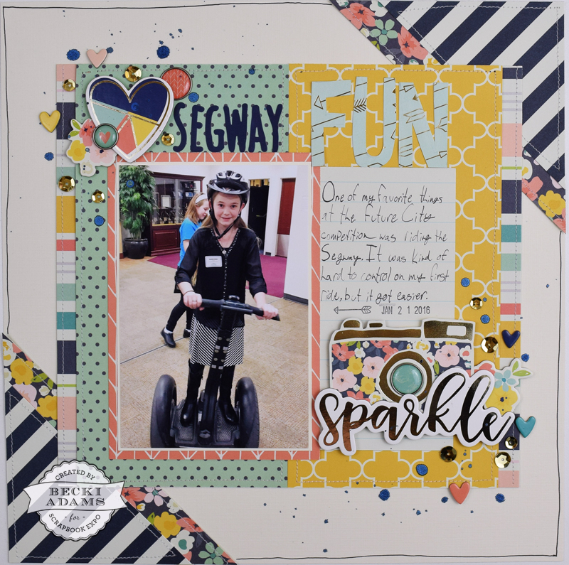 "Scrapbooking Process Video ""Segway Love"" By @jbckadams for @scrapbookExpo #scrapbooking #BeckiAdams #scrapbookingprocessvideo #SSE2017"