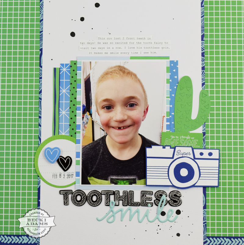 Boy Themed layout with Bonus Video by @jbckadams for @scrapbookexpo #scrapbooking #americancrafts #processvideo #beckiadams