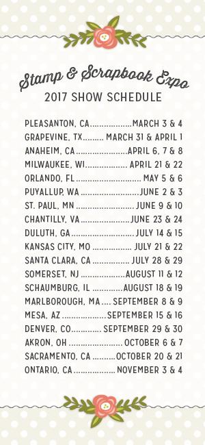 2017 Stamp & Scrapbook Expo Schedule