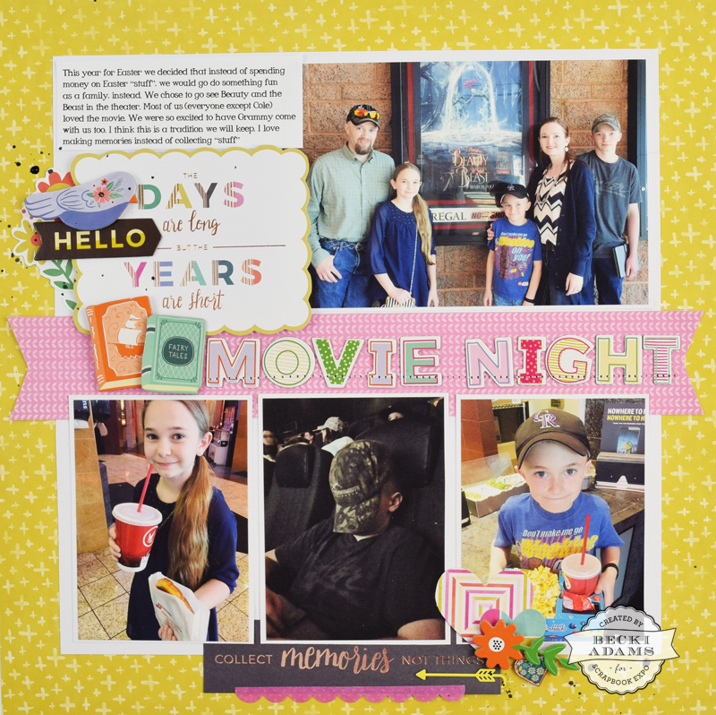 Four Photo layout with Video Tutorial by @jbckadams for @scrapbookexpo.com #scrapbooking #ssbe2017 #PinkPaislee #PaigeEvans #ohmyheart