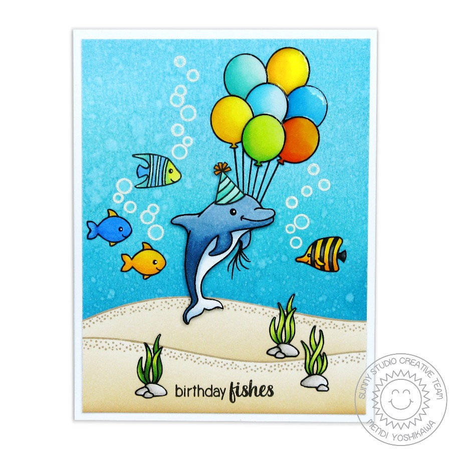 Oceans of Joy Birthday Fishes Card by Mendi Yoshikawa