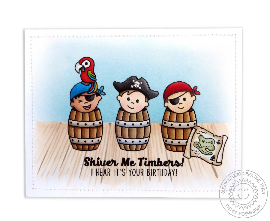 Pirate Pals 3 Barrells Card by Mendi Yoshikawa