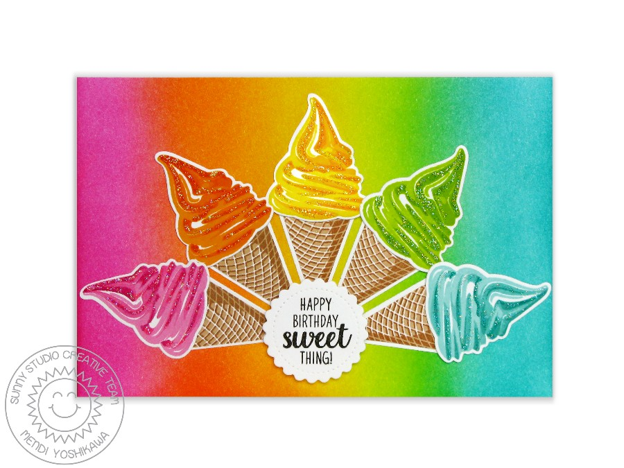 Two Scoops Rainbow Sherbet Card by Mendi Yoshikawa